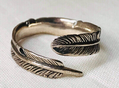 Silver Feather Ring UK Size U-adjustable • 3.99£