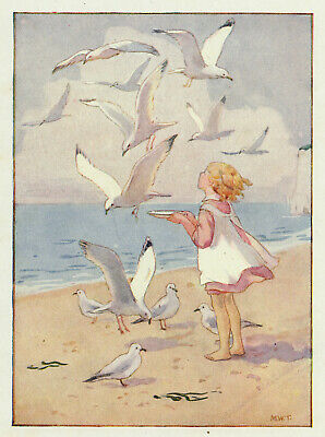 Feeding Seagulls Margaret Tarrant Antique Print In 10 X 12 Inch Mount STUNNING • 15.95£