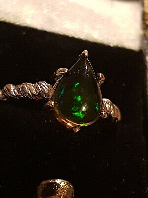 Black Opal Ring.925 And 22ct Size M1/2.unusual Design Free Post. • 74£