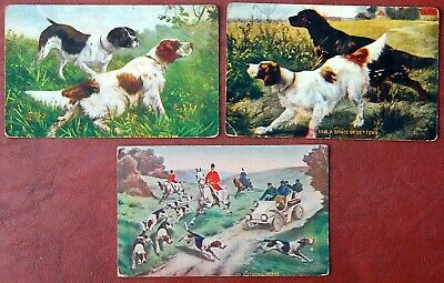£10.62 • Buy 3 Vintage Postcards: Hunting Dogs(Setters & Pointers)Horses, Mounted Fox Hunters
