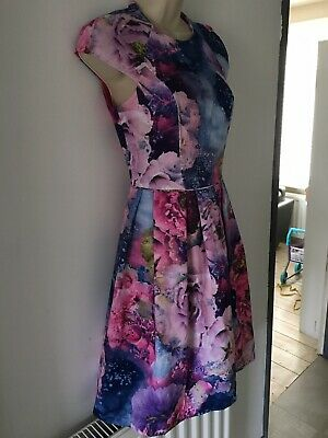 Warehouse 8 Summer Floral Pleated Circle Tea Dress Pink Blue Wedding Occasion • 17.99£