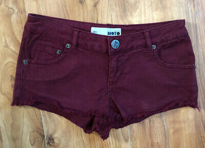 Ladies Waist 25 Uk Size 10 Burgandy Red Hotpants Micro Short Shorts Moto Topshop • 2.99£