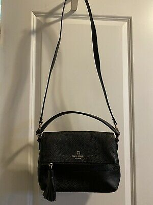 $ CDN35.70 • Buy Kate Spade Cobble Hill Little Minka Black Pebbled Leather FoldOver Crossbody Bag