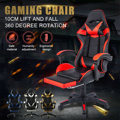 AU112.80 • Buy Gaming Office Chair Computer Executive Massage Chairs Seating Footrest Racer