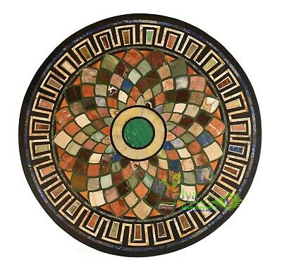 AU830.67 • Buy 2' Black Marble Table Top Round Dining Table Multi Stone Mosaic Inlay Home Decor