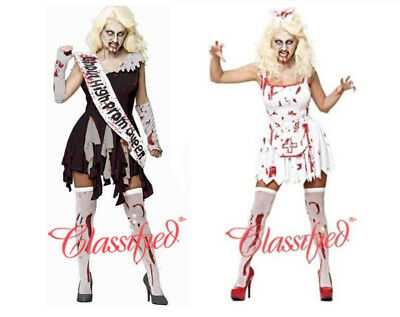 Ladies Classified Halloween Bloody Bride Prom Queen Zombie Costume Fancy Dress • 16.99£