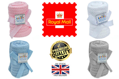 £3.99 • Buy New Soft Touch 100% Cotton Baby Girl Boy Cellular Blanket Pram Cot Bed 70x90cm