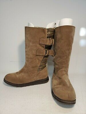 £12.04 • Buy MUK LUKS Women's Brown Faux Suede Mid Calf Sweater Boot Size 8