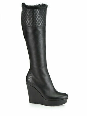 Gucci Women's GG Leather Fur-Lined Wedge Boots. • 550£