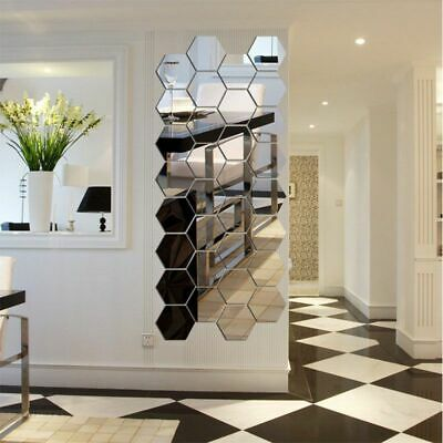 Large Hexagon Mirror Tiles Wall Stickers Self Adhesive Stick On Art Decal • 4.52£