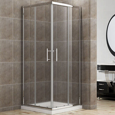 Corner Entry Shower Enclosure And Tray 800x800mm Cubicle Safe Glass Screen Doors • 189.99£
