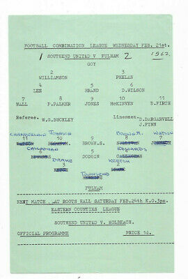 1961/62 Football Combination - SOUTHEND UNITED V. FULHAM • 3.99£