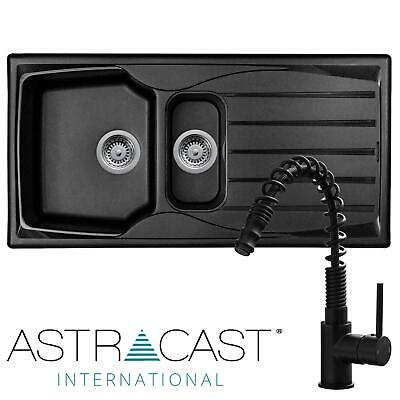 £172.99 • Buy Astracast Sierra 1.5 Bowl Black Reversible Kitchen Sink & Pull-out Spray Tap