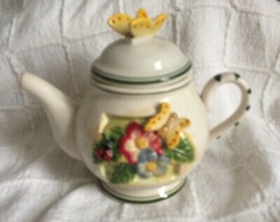Teapot For One In White Teapot With Floral And Butterfly Detail • 2.10£