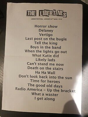 The Libertines Setlist Leeds Festival 2010 Great Condition Pete Doherty • 1.50£