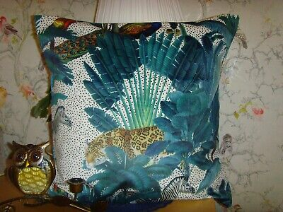 MADE In LEOPARD ZEBRA PEACOCK PRINTED VELVET FABRIC CUSHION COVER FITS 16in Pad • 9.99£