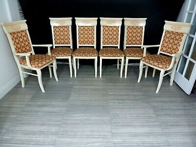 Classic Italian Extendable Dining Table And 6 Chairs Glossy Dining Set • 400£