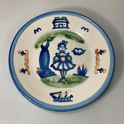 $22.05 • Buy M A Hadley Pottery Dinner Plate 9  Girl Lady House Boat Tree Flowers