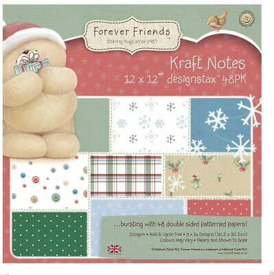 """£9.95 • Buy DOCRAFTS – FOREVER FRIENDS – CHRISTMAS KRAFT NOTES – 12"""" X 12"""" – 200GSM"""