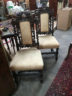 £230 • Buy Pair Of Upholstered Victorian Oak Heavily Carved Hall Chairs C1900