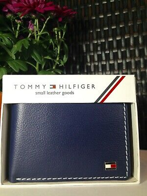 £17.99 • Buy Mens Leather Wallet 'Tommy Hilfiger' Shiny Navy Blue,Coin Pouch,Card Slot