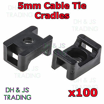 £3.45 • Buy 100 X 5mm Black Cable Tie Saddles Cradles Mounts Bases Wire Clips Clamps Wire