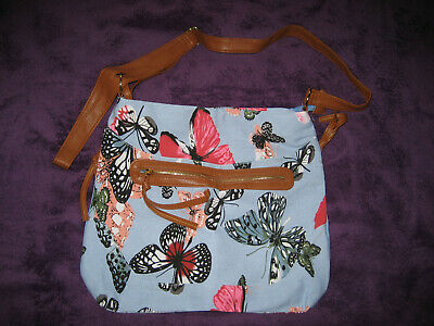 £4.99 • Buy Pale Blue Canvas Butterfly Print Bag With Cross Body Shoulder Strap