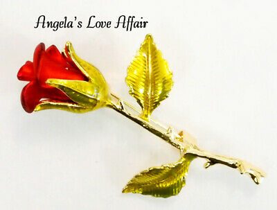 Vintage Style  Red Enamel Stemmed Rose Flower Brooch Lapel Bridal Mothers Day • 4.40£
