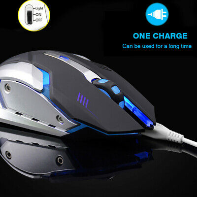 AU12.98 • Buy LED Wireless Rechargeable Gaming Mouse USB Ergonomic Optical Mice For PC Laptop