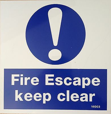 Fire Sign  Fire Escape Keep Clear Self Adhesive 265 X265 • 1.25£