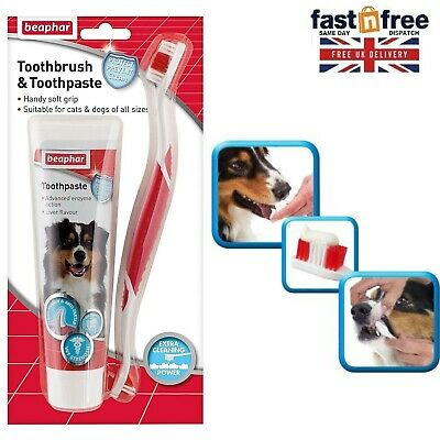 Dog Toothbrush And Toothpaste Kit Fresh Breath Removes Plaque Puppy Dental Care • 6.65£