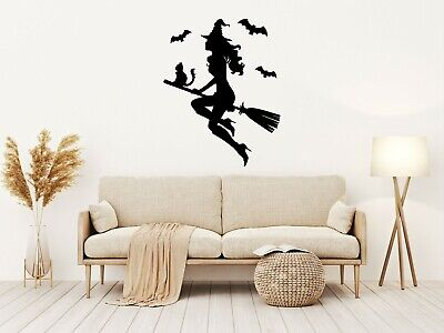 £16.99 • Buy Halloween WITCH ON A BROOMSTICK Vinyl Decal Sticker Window Wall Decoration M