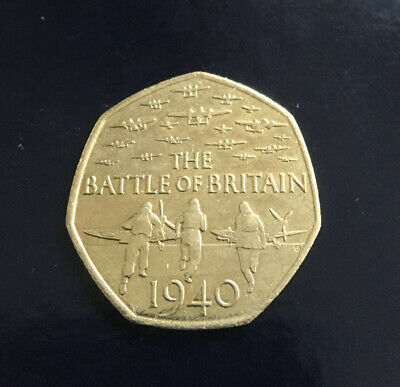 2015 *BATTLE OF BRITAIN * Commemorative 50 Pence Coin,Circulated,5th Portrait • 1.60£