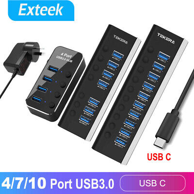 AU31.45 • Buy USB 3.1 USB-C Type-C HUB To 4/7 USB 3.0 Port Thunderbolt 3 Powered AC Adapter