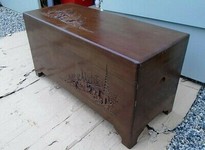 Vintage Carved Oriental Style Camphor Wood Chest Trunk Coffee Table Blanket Box • 125£