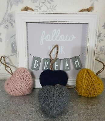 Hanging Decor Woven Love Hearts Handmade Unique Gift Car Accessories 7th Wedding • 4£