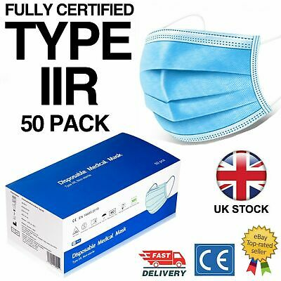 50 X Type IIR Medical Surgical Face Masks Disposable 3 Ply CE EN14683 2R Mask • 9.49£