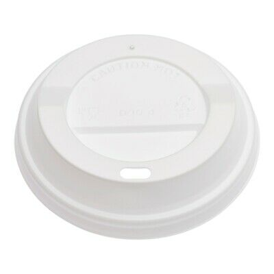500 X 12oz WHITE POLYSTYRENE SIP THROUGH LID FOR 12OZ COFFEE CUP LID • 15.49£