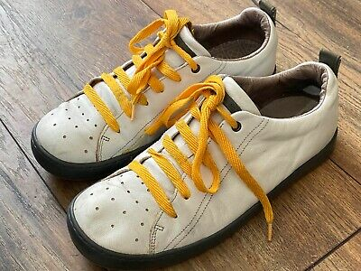 £58 • Buy Camper Leather Trainers White With Yellow Soles And Laces 42