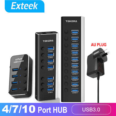 AU30.55 • Buy 4/7 Port USB 3.0 HUB Powered +High Speed Splitter Extender PC AC Adapter Cable