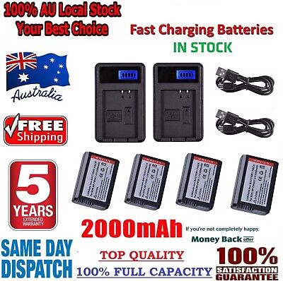 AU58.95 • Buy 4X NP-FW50 Battery +2X LCD1 USB Charger For Sony Alpha A6500 A6300 A6000 A5000