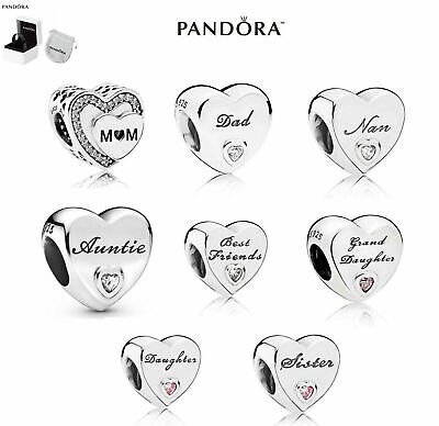 PANDORA Charms Pendant ForDaughter Wife Mum Heart Shaped With Box Gift • 8.69£