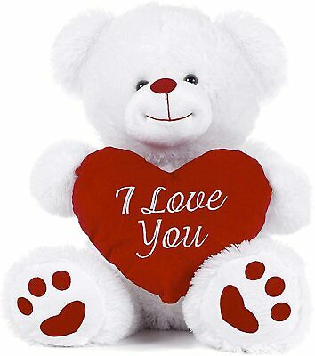 Online Street White Teddy Bear Holding Red Heart With I Love You Written On It ( • 13.99£
