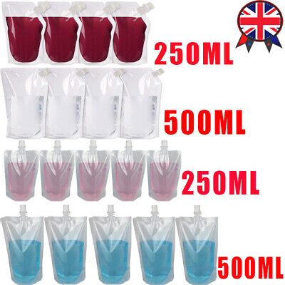 UK STOCK 5-500X Plastic Stand-up Drink Bags Spout Pouch For Liquid Juice Milk • 7.06£