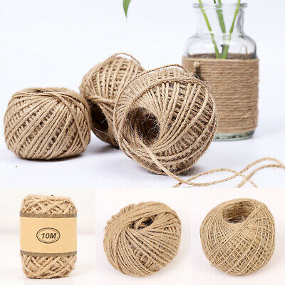 10/50/100M Natural Jute Twine Burlap String Rope Wedding Party Gift Wrapping DIY • 2.79£
