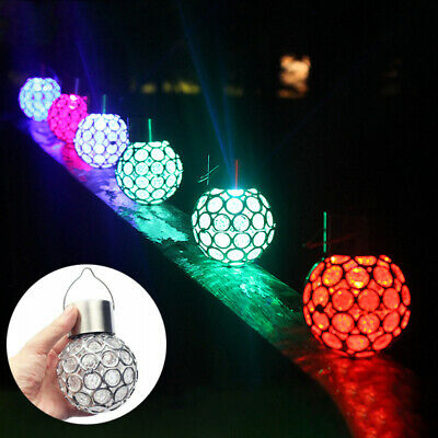 4Pcs Solar Power Crystal Hanging Ball Lights 7 Colour Changing LED Garden Lamps • 7.99£