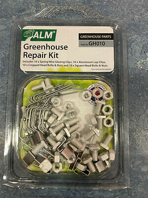 ALM Greenhouse Repair Kit Replacement Spring Wire Glazing Clips Lap Clips Bolts  • 5.40£