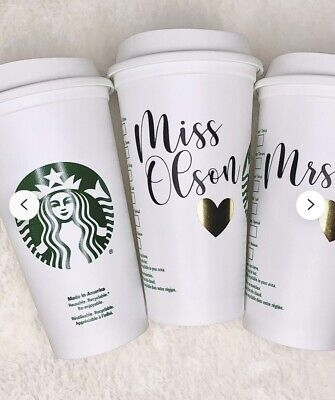 £11.99 • Buy Personalized Starbucks Coffee Tea Cup Reusable Plastic Tumbler Any Name + Heart