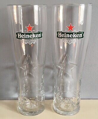 2 X Heineken Lager Pint Glasses - Ce Stamped / Nucleated • 9.99£