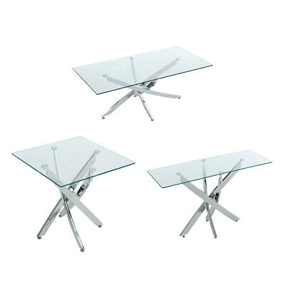 Coffee Table End Table Console Dining Table Clear Tempered Glass With Chrome Leg • 115.95£
